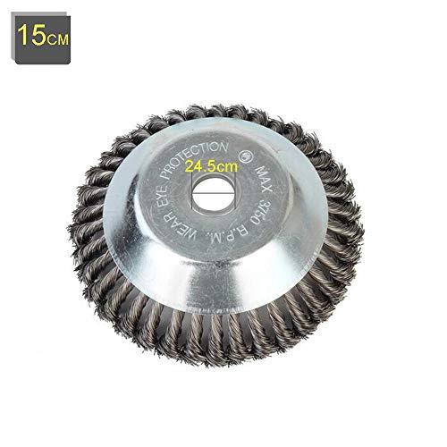 Buwico Wildkraut Fugenbürste Unkrautbürste, 6 Zoll /8 Zoll Rotary Weed Brush Joint Twist Disc Stahldraht Zopf-Kegelbürste, Durchmesser 150mm /200mm, Bohrung 25.4mm