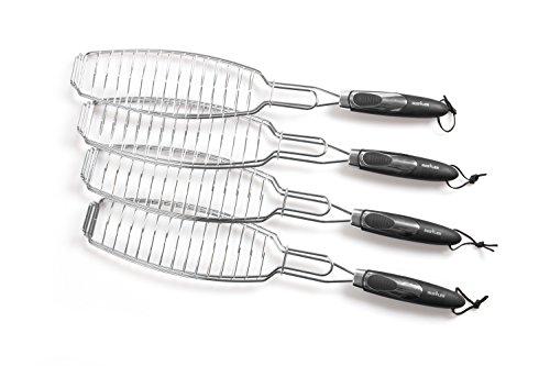 Rustler Grillroste / Grillwender Fisch in silber | 4er Set | verchromtes Metall | perfekt geeignet zum Grillen von ganzen Fischen