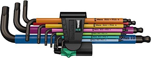 Wera 05073593001 950 SPKL/9 SM N Multicolour Winkelschlüsselsatz, metrisch, BlackLaser, 9-teilig