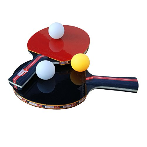 Easy-Room Tischtennisschläger, Tischtennis Set, Tischtennis-Schläger Hülle, 2 Tischtennis-Schläger und 3 Tischtennis-Bälle