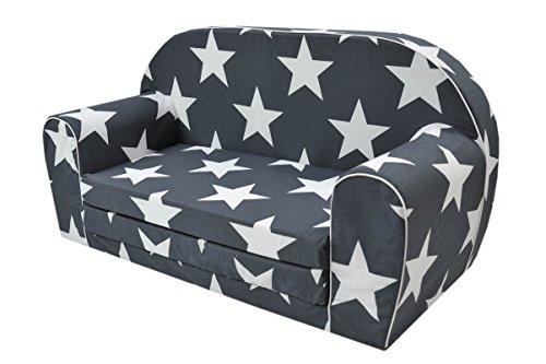 MoMika Kinderschlafsofa Kindersofa mit Bettfunktion Couch Kindermöbel Ausklapp Kindersessel, zum Schlafen und Spielen - 2 Sitzer (Stars-S108)