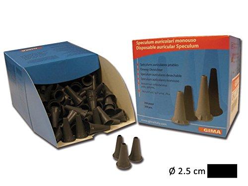 GiMa Einweg Mini Ohr Spekulum 2,5mm-schwarz-voll kompatibel mit Mini Serie von Heine, Kawe, Riester, GiMa und andere Marken-250Stück Pcs