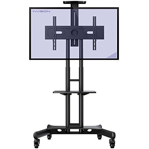 Invision GT1200 ScreenStation Mobiler TV Ständer Fernsehwagen Standfuß - Kippsicher u. Ultra-stabil Für 32-65 Zoll HDR LED & LCD-Bildschirme Streifenfreie Rollen - VESA 400 600 Montagelöcher [GT1200]