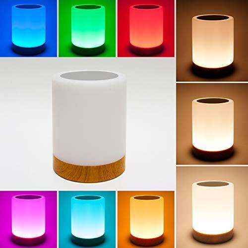 LED Tischleuchte LED Touch Dekoleuchte mit weißem Licht Mini RGB Lampe mit Farben, wiederaufladbar über USB-Kabel und modernes Design für Dekoration von Terrasse, Zimmer, Wohnzimmer oder Garten