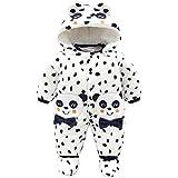 JiAmy Baby Winter Overalls mit Füßlinge Fleece Schneeanzüge Mit Kapuze Warm Outfits Panda 6-9 Monate