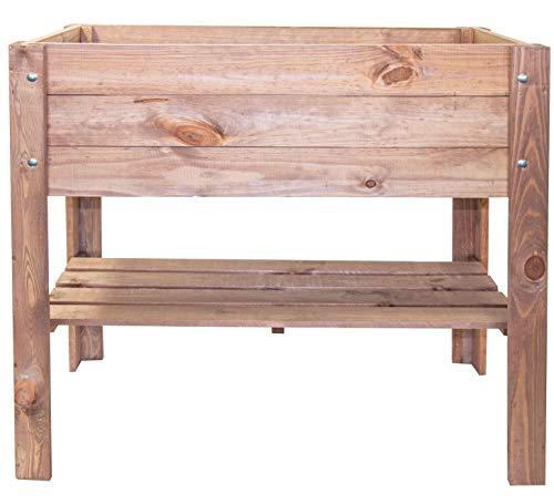 mgc24 Hochbeet | Kiefernholz Dunkelbraun rechteckig | für Garten, Terrasse und Balkon | 80,5 x 40 x 78,5 cm | mit Ablage