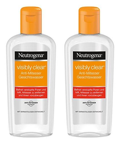 Neutrogena Visibly Clear Anti-Mitesser Gesichtswasser / Klärendes Reinigungswasser für das Gesicht gegen Unreinheiten und Mitesser / 2 x 200ml