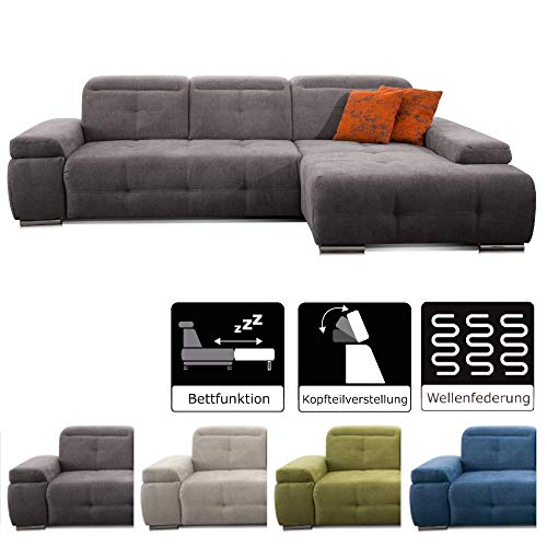 CAVADORE Schlafsofa Mistrel mit Longchair XL rechts / Große Eck-Couch im modernen Design / Mit Bettfunktion / Inkl. verstellbare Kopfteile / Wellenunterfederung / 273 x 77 x 173 / Grau