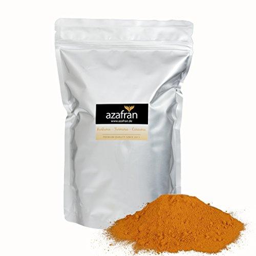 BIO-Kurkuma - Premium Kurkumapulver gemahlen aus Indien 1kg von Azafran - Ideal als Gewürz, für Goldene Milch oder zur Erstellung von Kurkuma Latte oder Paste