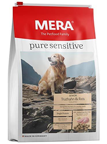 MERA pure sensitive Senior Truthahn und Reis Hundefutter – Trockenfutter für die tägliche Ernährung älterer, nahrungssensibler Hunde