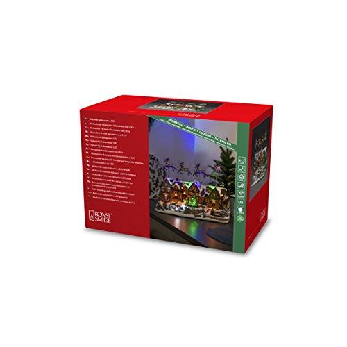 Konstsmide, 4216-000, LED Szenerie 'Weihnachtsdorf mit bewegten Rentieren' und 8 klassischen Weihnachtsliedern , 12 bunte Dioden, 4.5V_Innentrafo