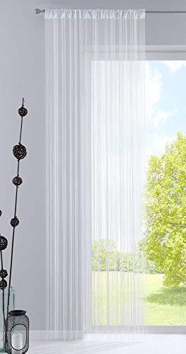 Fadengardine, HxB 250x140 cm, Weiß mit Tunneldurchzug und eingenähtem Kräuselband, geeignet für Gardinenstangen und Gardinenschienen Fadenvorhang Fadenstore Raumteiler, 20303CN