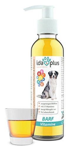 IdaPlus – BARF Multivitamin 17 in 1 | 200 ml für Hunde & Katzen | Enthält Vitamin A, B-Vitamine (B1, B2, B6, B12), C, D, D3, E, K und mehr | Versorgung für bis zu 200 Tage (Flüßig)