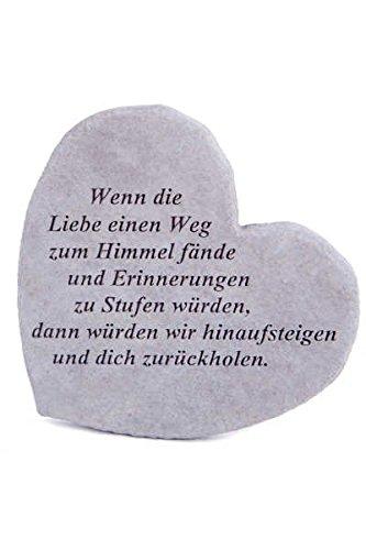Gedenkstein 'Wenn die Liebe...' aus Steinguss 17 x 15 cm Grabschmuck