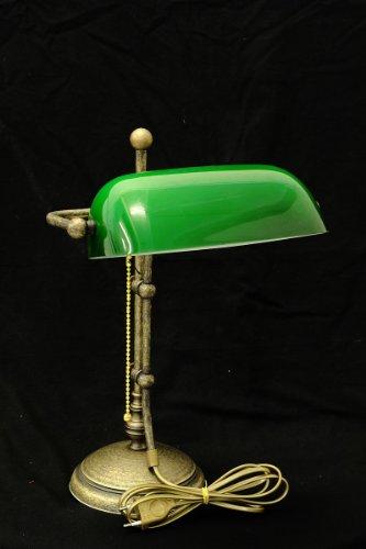 Dekorative Bankerslamp aus Messing mit grünem Glasschirm