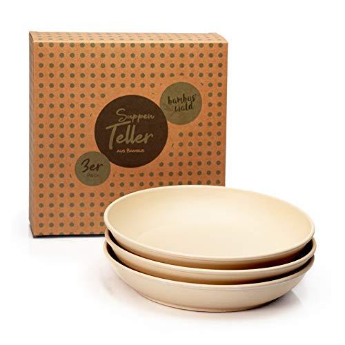 3er Set Suppenteller (D19,5xH3,8cm) - runder Teller für Suppe - Bambus | spülmaschinenfest, lebensmittelecht, ultraleicht & bruchsicher : Bambusteller | Geschirr | Essensteller | Essgeschirr