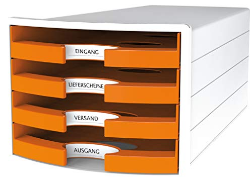 HAN Schubladenbox IMPULS 1013-51 in orange/Weiß/ Stapelbare Sortierablage mit 4 großen, offenen Schubladen für DIN A4/C4/ inkl. Beschriftungsschilder Trend Colour orange