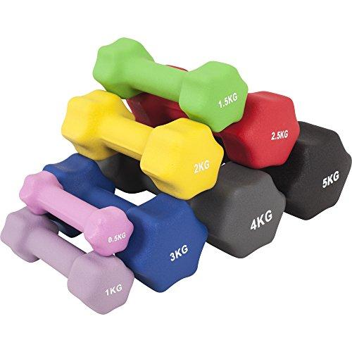 GORILLA SPORTS Kurzhantel-Set Neopren 1-10 kg für Gymnastik, Aerobic, Pilates Fitness – 2er-Set 6 kg - 2 x3 kg