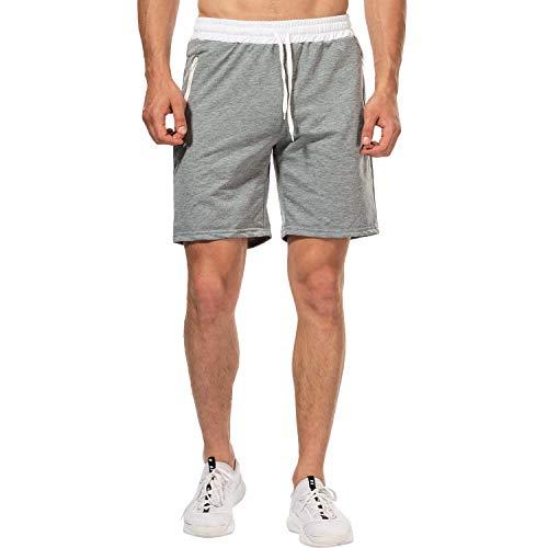 CHYU Herren Sport Joggen und Training Shorts Fitness Kurze Hose Jogging Hose Bermuda Reißverschlusstasch (XL, Hellgrau)