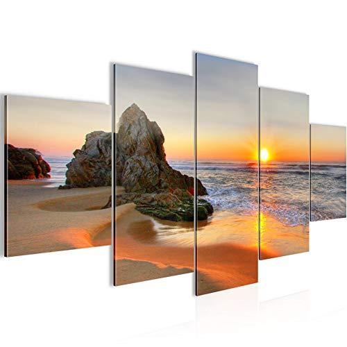 Bilder Sonnenaufgang Strand Wandbild 200 x 100 cm Vlies - Leinwand Bild XXL Format Wandbilder Wohnzimmer Wohnung Deko Kunstdrucke Orang 5 Teilig - MADE IN GERMANY - Fertig zum Aufhängen 609551a