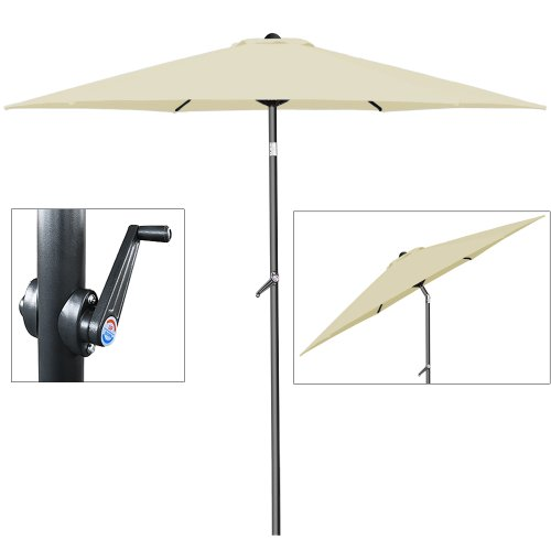 Deuba Sonnenschirm • Ø 200cm • Kurbel und Neigefunktion • wasserabweisend • Aluminium - Kurbelschirm Gartenschirm beige