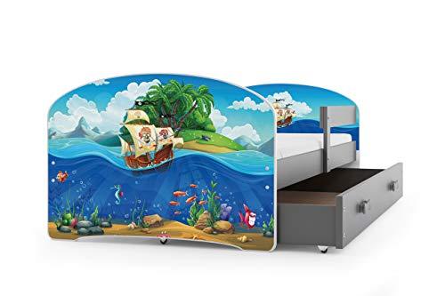 Kinderbett LUKI, Farbe: Grau 160x80cm, mit Matratze, Lattenrost und Schublade (PIRATEN)