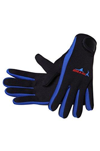 Cokar Neopren Handschuhe 1.5MM Neoprenhandschuhe Tauchen Schnorcheln Elastische Warm Verstellbarer - L ,Blau