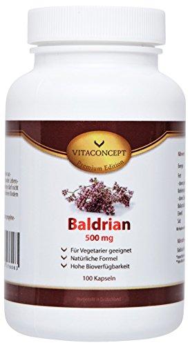 Baldrian Extrakt * 500 mg pro Kapsel * (10:1 Konzentration entspricht 5000 mg pro Kapsel) * 100 vegetarische Kapseln hochdosiert - Made in Germany von VITACONCEPT
