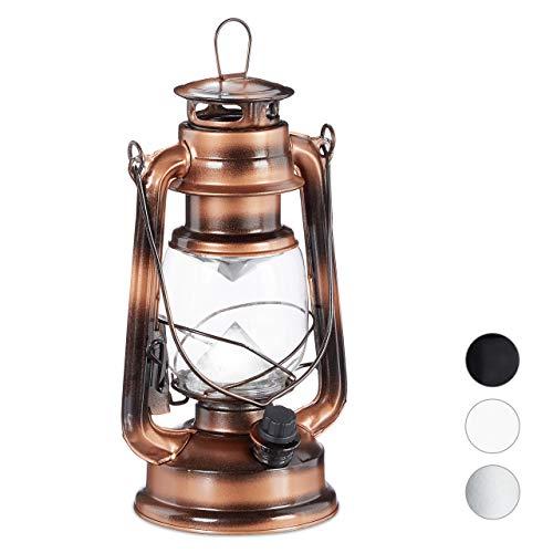 Relaxdays Sturmlaterne LED, Retro Sturmlampe als Fensterdeko oder elektrische Gartenlaterne, batteriebetrieben, Kupfer