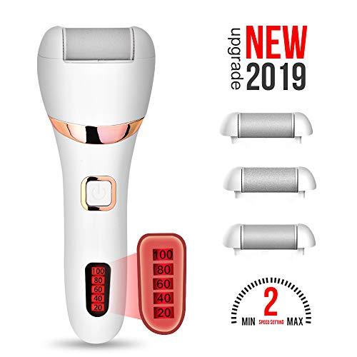 Elektrischer Hornhautentferner,WaVes USB Aufladbar Wasserdicht Elektrisch Fußpflege Hornhauthobel,LED Leuchten und Extra Rollenkopf