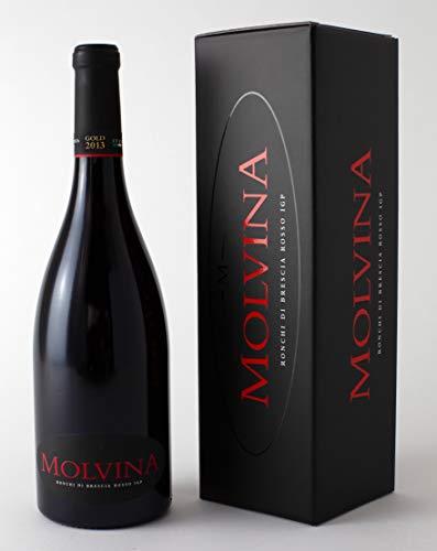 MOLVINA Luxus Rotwein Premium Vintage GOLD 2013   Satin-glatte rote Beere   Ronchi di Brescia Rosso   Aus einem italienischen Boutique-Weingut, Eichenfass 60 mnt gereift   1 x 75 cl Flasche