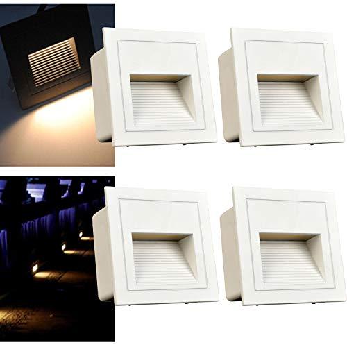 Arotelicht 4er 3W LED Wandeinbauleuchte Wandeinbaustrahler Treppenlicht Wandleuchte Stufenlicht aussen Mauer Beleuchtung außen Lampe Alu 230V kaltweiß, 6000K, IP65, Grau, inkl. Dose