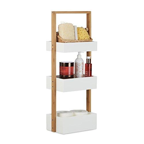 Relaxdays Badregal klein, Badezimmerregal mit 3 Körben, Korbregal fürs Bad, Holz, HxBxT: 76 x 30 x 18,5 cm, weiß/natur