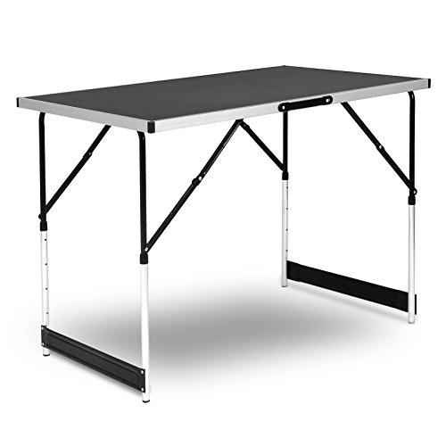 WOLTU Campingtisch Klapptisch Gartentisch Arbeitstisch Balkontisch höhenverstellbar Aluminium Stahl MDF Schwarz CPT8121sz