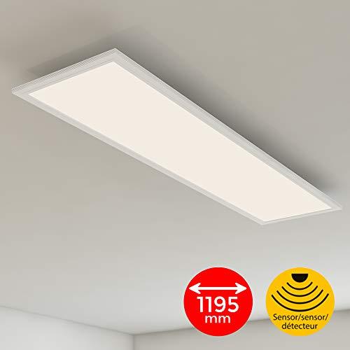Briloner Leuchten Deckenlampe, LED Panel mit Bewegungsmelder, Tageslichtsensor, 4.100 Lumen, 4.000 Kelvin, 38W, Weiß, Kunststoff, 38 W, 1.2x295x49mm (LxBxH)