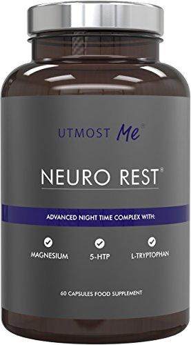 5-HTP + Magnesium + Natürliche Melatonin Schlaftabletten - mit Montmorency Cherry, L-Tryptophan, Kamille | Anti-Angst-Tabletten ohne hohe Stärke 5 HTP Nebenwirkungen | Neuro Rest by Utmost Me ()