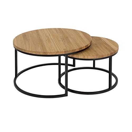 Hochwertiger Couchtisch aus Eiche & Metall - Satztisch aus Massiv Holz im 2er Set | Wohnzimmertisch aus Echtholz | Moderner Massivholz Beistelltisch - rund & kompakt - 50 cm hoch | Natur braun