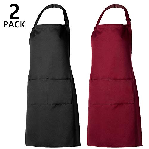 PAMIYO Schürze Kochschürze 2 Pack Küchenschürze verstellbare Schürzen mit 2 Taschen für Küche Garten BBQ Chef Kellner Bäcker (Schwarz + Rot)