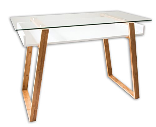 bonVIVO Designer-Schreibtisch MASSIMO, moderner Sekretär in einem stilsicheren Materialmix aus Glas, Naturholz und weiß lackierter Ablagefläche
