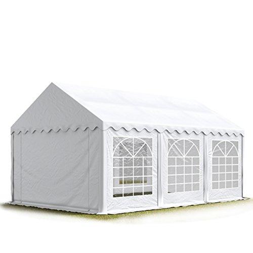 Party-Zelt Festzelt 4x6 m Garten-Pavillon -Zelt 500g/m² PVC Plane in weiß Wasserdicht