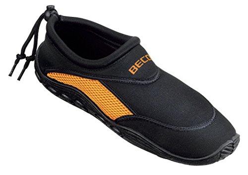 BECO Badeschuhe / Surfschuhe für Damen und Herren schwarz/orange 41