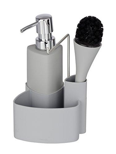 Wenko 3620125100 Spül-Set Empire  Spülmittelspender, Spülbürste, Handtuchhalter, Fassungsvermögen 0.25 L, Soft-Touch Keramik