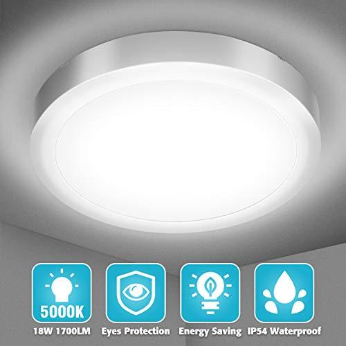 Elfeland LED Deckenleuchte 18W Deckenlampe Kaltweiß 5000K 1700lm Badlampe Decke Badleuchte IP54 Wasserfest Badezimmerlampe ideal für Badezimmer Wohnzimmer Schlafzimmer Küche Büro Balkon Flur Ø23cm