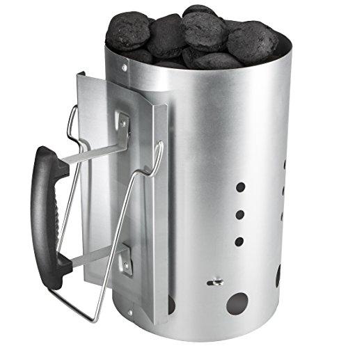 Bruzzzler Anzündkamin mit Sicherheitsgriff aus Kunststoff & zweitem Klappgriff, Grillkohleanzünder Brennsäule, Grillkamin Anzünder, 30 x 19 cm