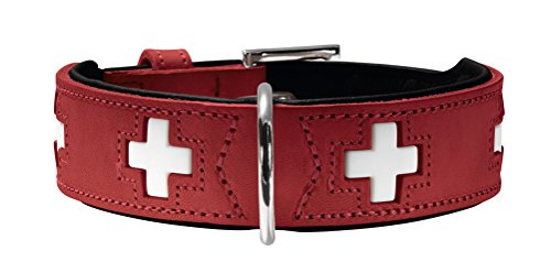 Hunter Hundehalsband Swiss, Nickel, Ökoleder, 55, rot/schwarz
