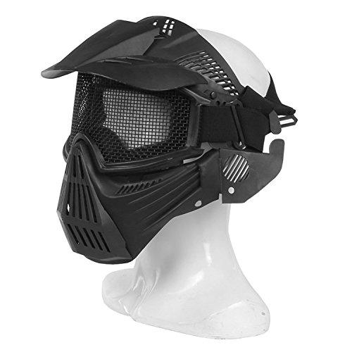 haoyk Tactical Airsoft Mesh Schutz Full Face Maske für militärische Schutz Paintball Halloween-Kostüm, schwarz