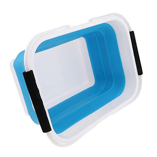 CUTICATE Silikon Faltbarer Eimer Leicht Faltschüssel Zusammenklappbarer Falteimer Wassereimer, Kapazität: 10L - Blau