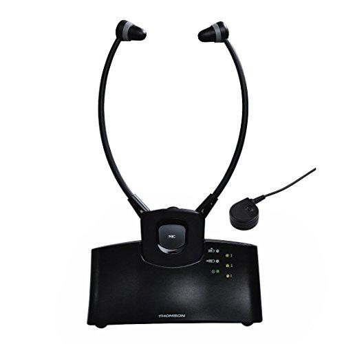 Thomson Stereo Funk Kopfhörer WHP5305BK TV/HiFi (Getrennte Lautstärkeregelung, Ladestation, Kinnbügel, bis zu 120dB, Digital) Schwarz
