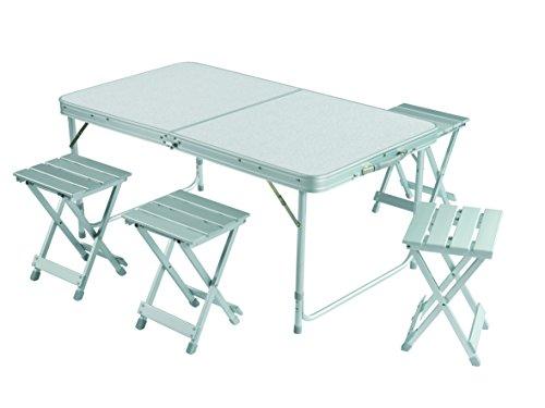 Grand Canyon Koffertisch Set, inkl. 2 Hocker, Campingtisch inkl. Hocker, klappbar, Aluminium, silber, stabiler Klapptisch für Camping, Festival, Picknick, 308006