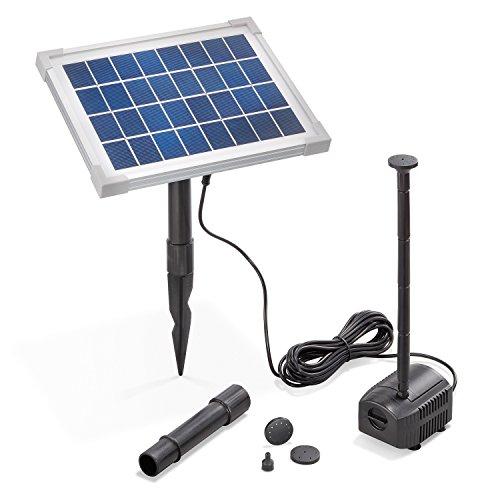 Solar Teichpumpe 5 Watt Solarmodul 250 l/h Förderleistung 100 cm Förderhöhe esotec Professional Produktserie Komplettset Springbrunnen Gartenteich, 101909